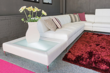 Couch with white upholstery and pillows