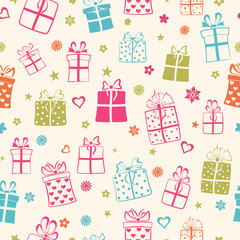 Seamless pattern of gift boxes, multicolored on white