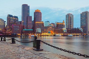 Boston Harbor and Financial District at sunset