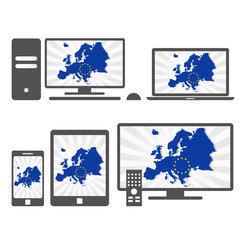 Electronic devices with the map of Europe