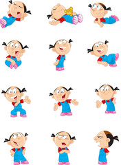 cartoon girl in various poses