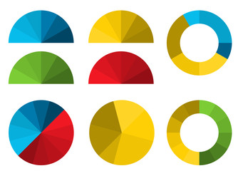 Set of 4 colorful half pie diagrams in color shades and 4 full p