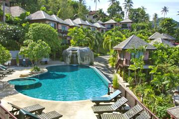 beautiful swimming pool in tropical resor
