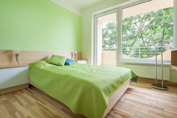 Bedroom with green elements