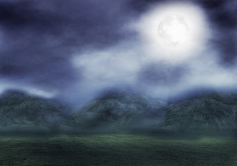 Mountains with moonlight