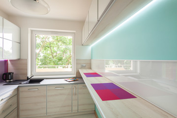 Modern kitchen with neon lighting