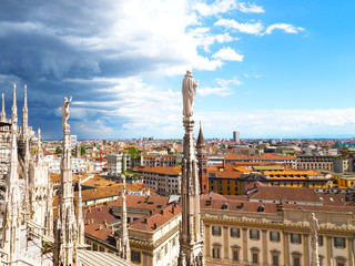 View on downtown from the Dome of Milan cathedral