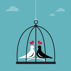 Vector image of two birds in a cage.