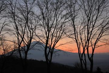忍野二十曲峠の夕景富士