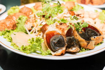 chinese century eggs in the plate