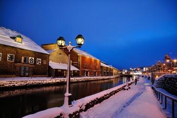 冬の小樽運河 北海道の景色