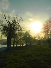 Sunset and recreation around the lake
