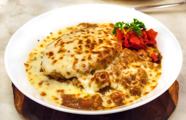 Creative Japanese curry with mozzarella cheese and rice