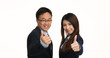 Businessman And Businesswoman Happy After  Meeting. Isolated on