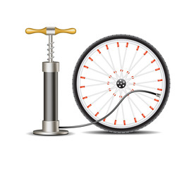 Air pump with bicycle wheel