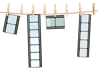 pellicule de film sur corde à linge