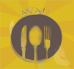 Restaurant Menu Design with Fork Spoon, Plate and a Knife