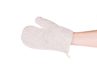 Oven gray glove on hand.