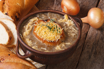 onion soup with croutons and ingredients. Horizontal