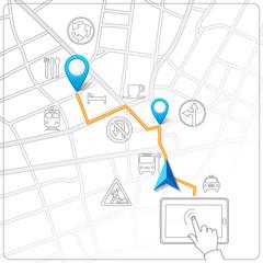 Using tablet for street map navigation vector
