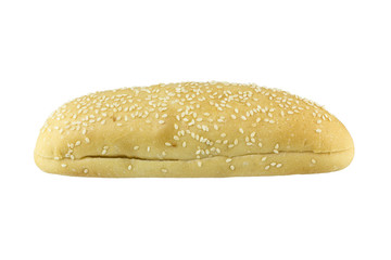 hot dog bun with sesame seeds on a white background