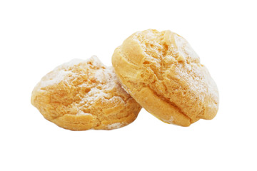 baked  bread with icing on white background