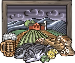 Countrylife and Farming Illustration in Woodcut Style