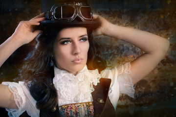 Steampunk Girl with Top Hat and Aviator Glasses