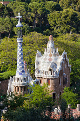 Porter's Lodge Pavilions in Park Guell by Antoni Gaudi
