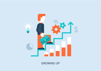 Flat style vector illustration career success stairway concept