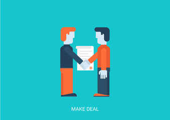 Flat style vector illustration contract make a deal concept