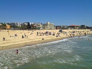 Beautiful Sunny Santa Monica Beach, Los Angeles, California, USA