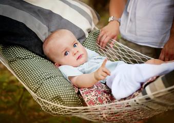 Little boy in hammock