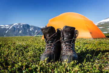 Hiking Boots in Front of the Tent