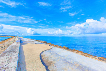 Breakwater and blue ocean and sky in Okinawa