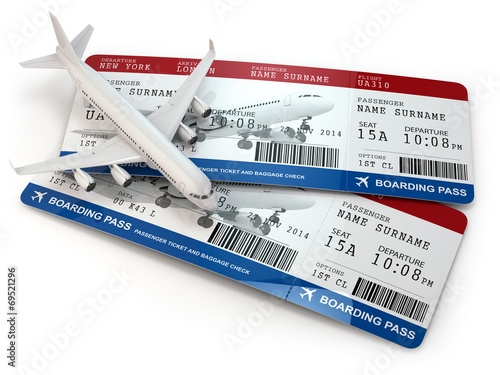 Boarding pass. Tickets and airplane.