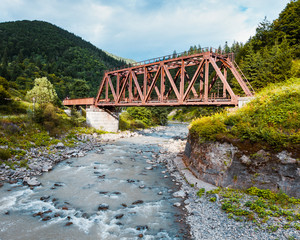 Railroad trestle over river, Carpathians