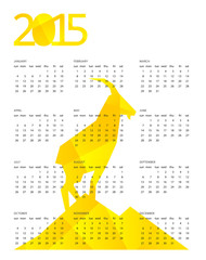 Vector illustration of сalendar for 2015 with yellow geometric