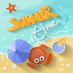 Summer time poster.  illustration with Sea, sun,