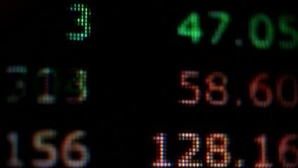 Stock market ticker on computer screen