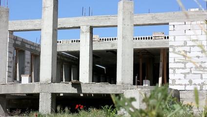 concrete construction of building