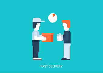 Flat vector hand to hand fast rapid shipping delivery concept