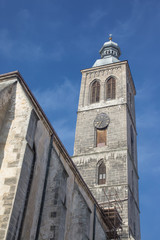 View on tower of church of St. James in town Kutna Hora