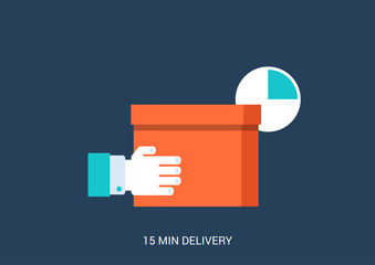 Flat vector fast rapid free shipping delivery concept icon