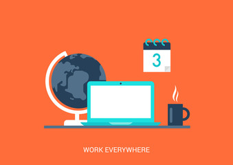 Flat style vector illustration work everywhere concept icon