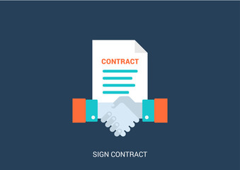 Flat style vector business sign contract handshake concept icon