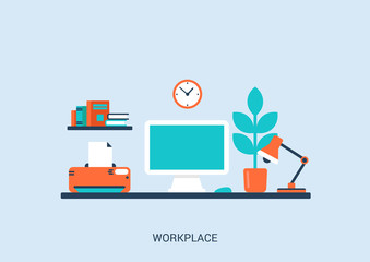 Flat style design vector illustration work place home interior