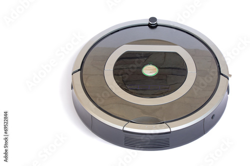 Robotics - the automated robot the vacuum cleaner on a white bac - 69522844