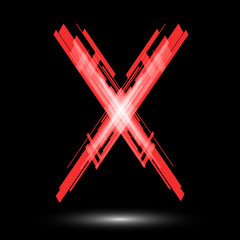 Red letter X on a black background. Raster