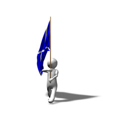 3D man marching with Scottish flag.